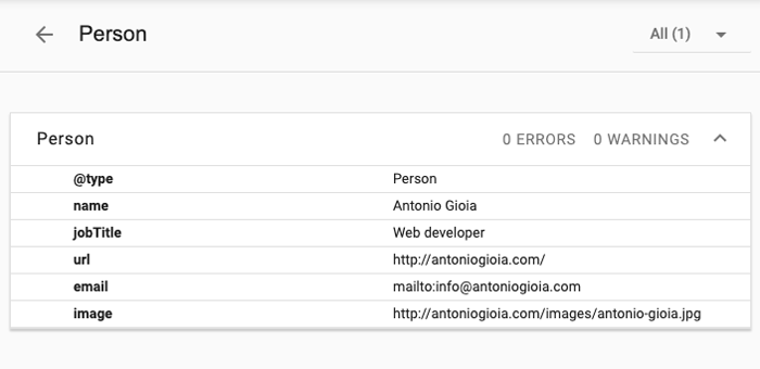 Image of Google structured data testing tool results person